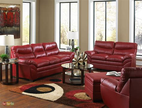 Casual Contemporary Red Bonded Leather Sofa Set Living Leather Sofa For Living Room