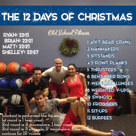 twelve days of christmas work 12 days of workout throwback