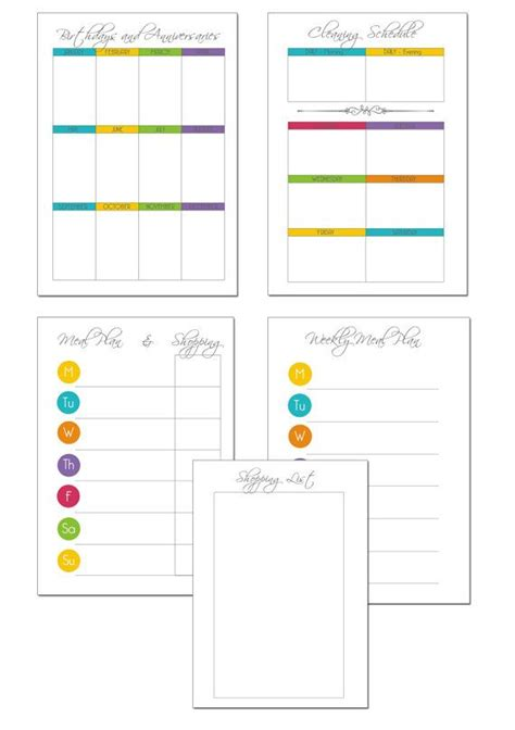 printable arc planner pages printable household planner set 5 pages for arc