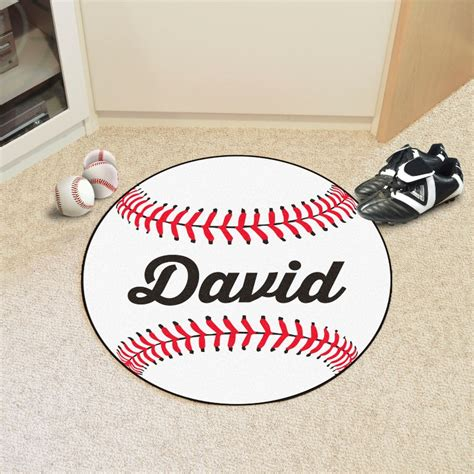 personalized round baseball rugs 3 sizes 8 text colors