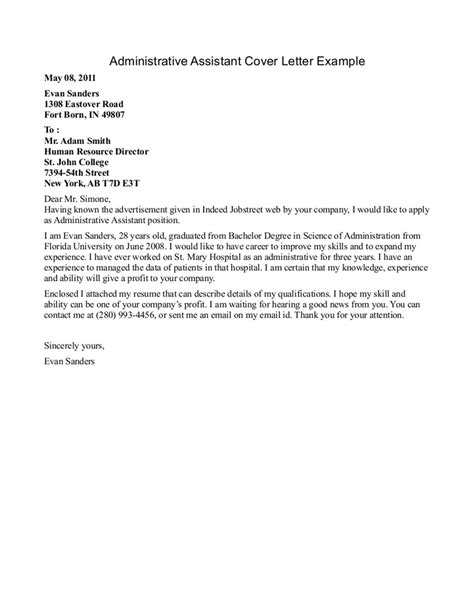 cover letters for executive assistants sle cover letter for administrative assistant