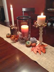 Fall Table Decoration Two It Yourself Fall Table Decorations On A Burlap Runner
