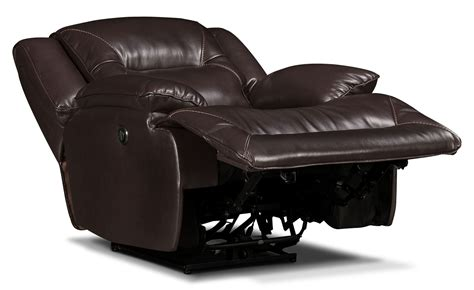 lancer recliner lancer leather look fabric power reclining chair brown