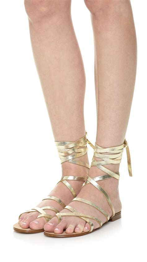 sandals lace up lyst splendid lace up sandals in metallic