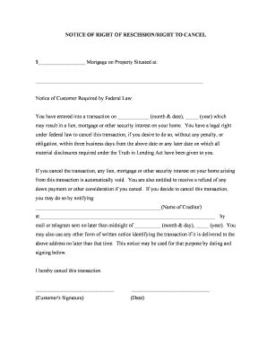 Mortgage Rescission Letter right to rescind notice fill printable fillable blank pdffiller