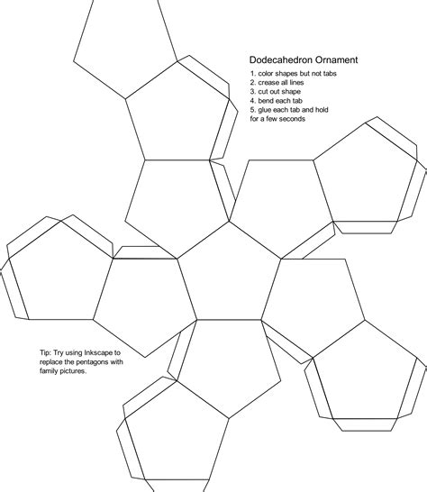 Dodecahedron Template Large Related Keywords - clipart blank dodecahedron ornament