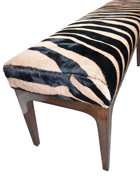 zebra bench mid century modern zebra stencil printed cowhide hair upholstered bench for sale at