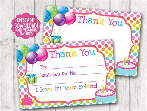 thank you card for birthday template 9 printable thank you card templates free sle