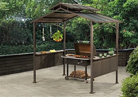 hardtop grill gazebo sunjoy 8 x 5 kent hardtop steel grill gazebo black