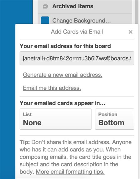 card by email creating cards by email trello help
