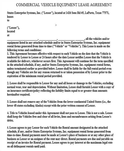 commercial vehicle lease agreement template 41 lease agreement formats templates pdf doc