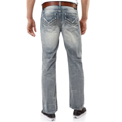 J006 Ripped Denim Washed Fade Blue lyst marc ecko bootcut faded wash in blue for