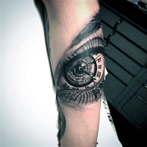 tattoo eye with clock mens forearm eye roman numeral clock tattoo design ideas