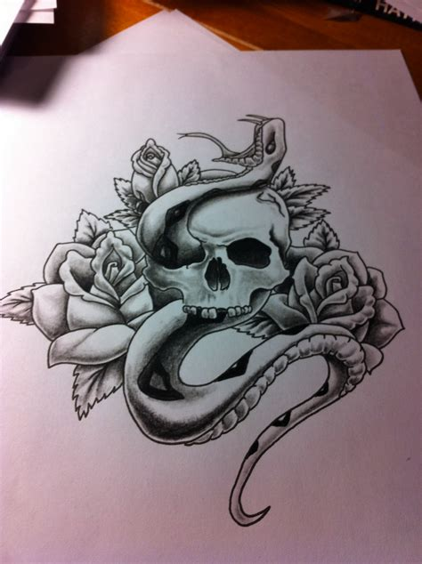 skull rose snake tattoo point blank industries artwork clothing