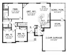 Craftsman Plans Floor Plans Aflfpw76173 1 Story Craftsman Home With 3 Bedrooms 2 Bathrooms And 1 520 Total