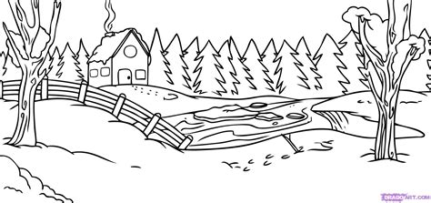 snow landscape coloring page how to draw a winter scene step by step other landmarks
