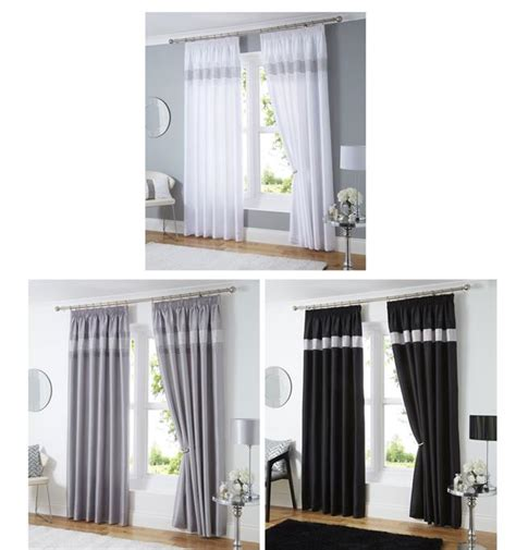 New Luxury Diamante Panel Faux Silk Eyelet Ring New Diamante Faux Silk Lined Curtains Black Silver Or