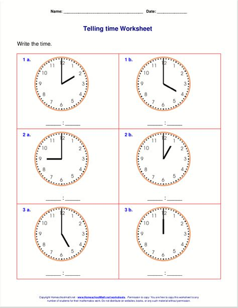 Sa 2time telling time worksheets for 1st grade