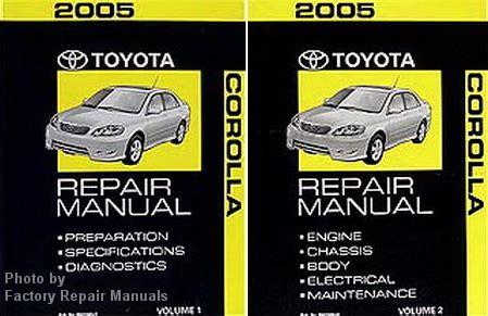 2005 toyota corolla factory service manual set original shop repair factory repair manuals