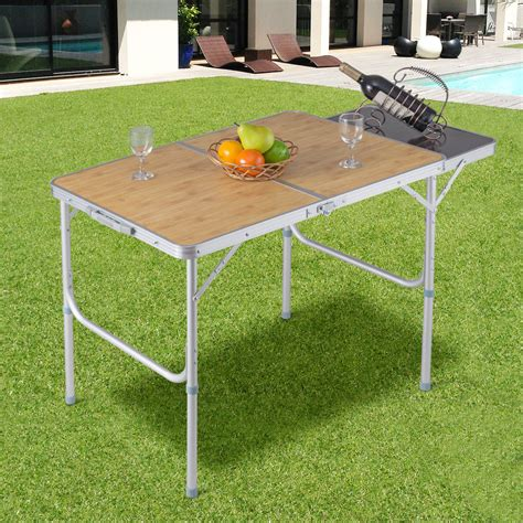 costway aluminum folding picnic camping table lightweight