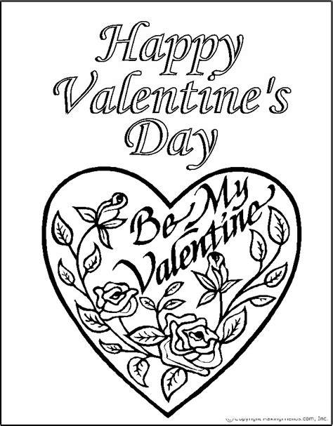 Kids Coloring Pages Valentine Day Roses Printable Happy Valentines Day Coloring Pages