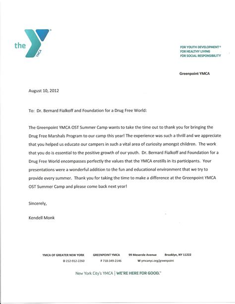 Thank You Letter For Counseling Sle Cover Letter At Ymca Just B Cause