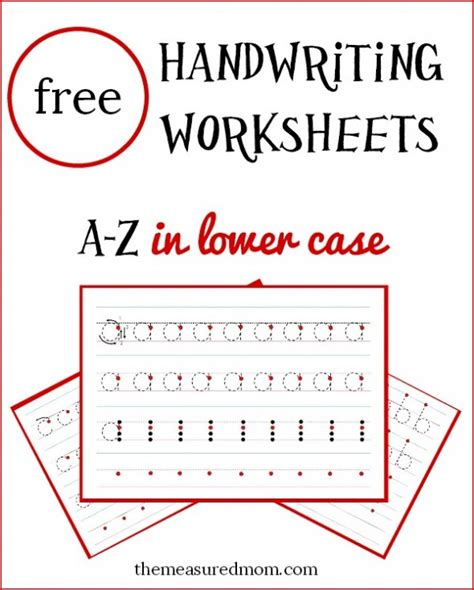 printable handwriting worksheets a z lowercase letters hand writing free download pearls