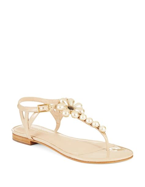 kate spade pearl sandals kate spade shelby faux pearl accented sandals in beige