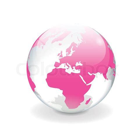 3d Home Map Design Online White Pink Vector World Globe Europe Stock Vector
