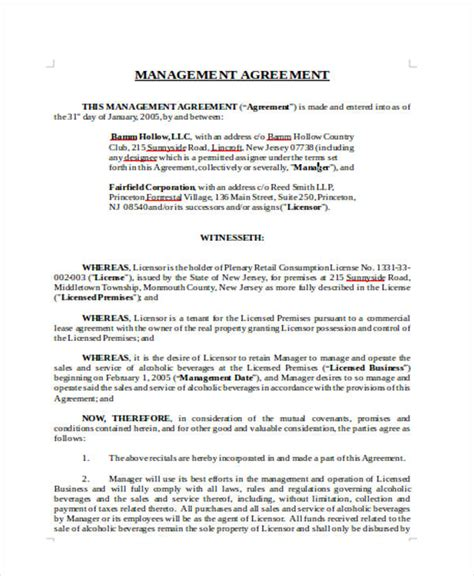 management agreement templates 11 free word pdf format