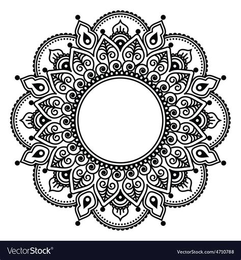 mehndi lace indian henna tattoo round design vector image