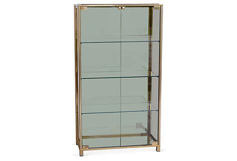vitrine modern mid century modern brass smoked glass vitrine modernism