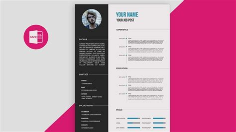 cvresume template design tutorial  microsoft word