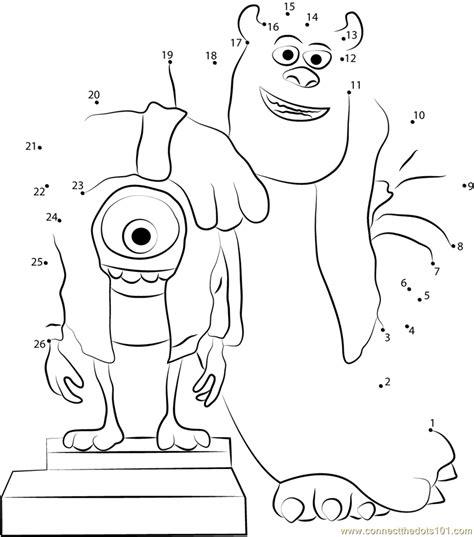 monster dot to dot printable mike and sullivan say cheez dot to dot printable worksheet