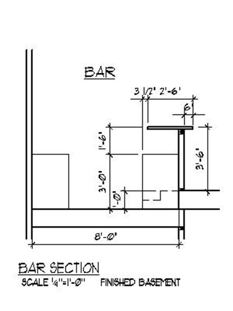 top bar section home bar plans design blueprints drawings back bar counter