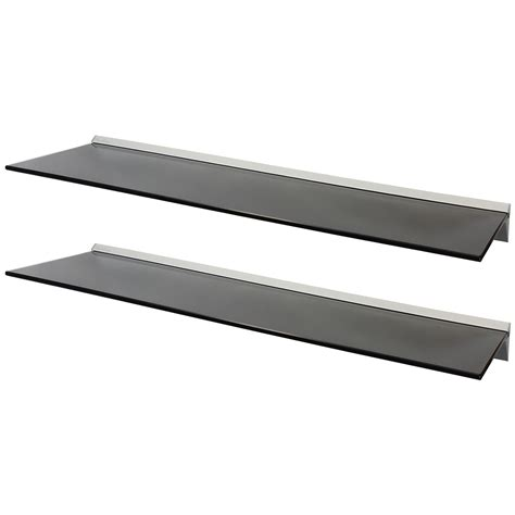 floating black glass shelves hartleys pair 2x 100cm black floating glass wall shelves