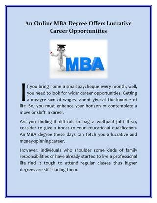 Most Lucrative Mba Career by An Mba Degree Offers Lucrative Career Opportunities