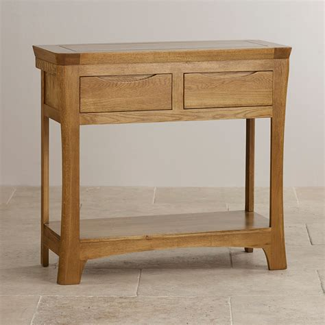 oak console orrick console table in rustic solid oak oak furniture land
