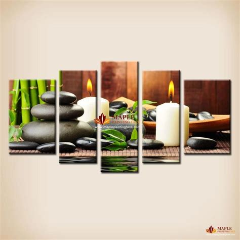 Feng Shui Living Room Wall Decor 5 Panel Canvas Botanical Green Feng Shui White Candle