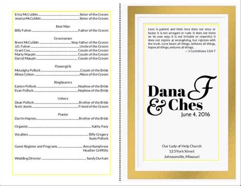 Gift Card Program - do it yourself wedding program cards
