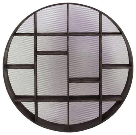 benzara contemporary style wooden circle shelf in black
