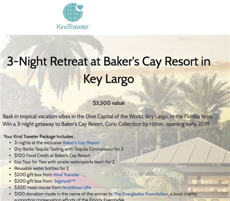 bakers cay resort  key largo sweepstakes