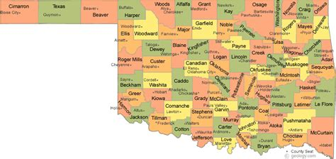 oklahoma counties map oklahoma map with counties