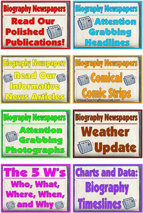biography and autobiography display biography book report newspaper templates worksheets
