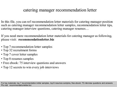 Reference Letter For Catering Catering Manager Recommendation Letter