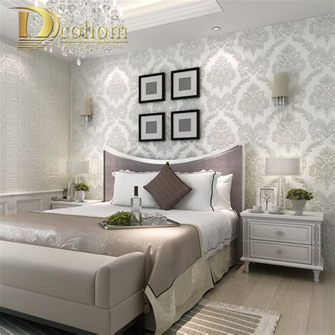 sparkly bedroom decor european embossed flocking silver glitter striped damask