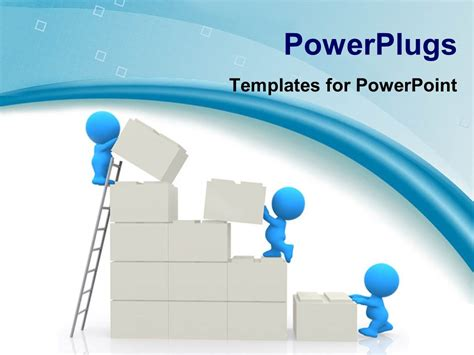 Powerpoint Template Small Blue Figures Building Wall From Powerplugs For Powerpoint Free