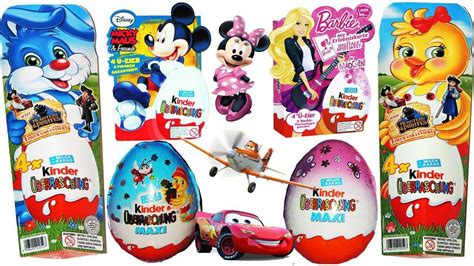 mickey mouse surprise eggs play toys kinder chocolate 30 surprise eggs kinder surprise cars planes minnie mouse