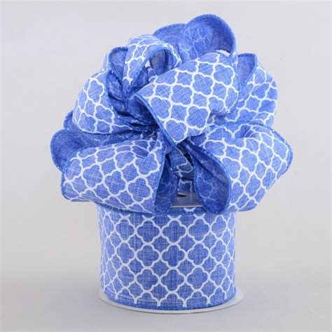 Denim Ribbon 2 5 quot quatrefoil ribbon denim blue white 10 yards