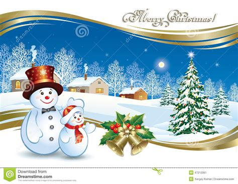 christmas poster with a festive christmas tree and snowman